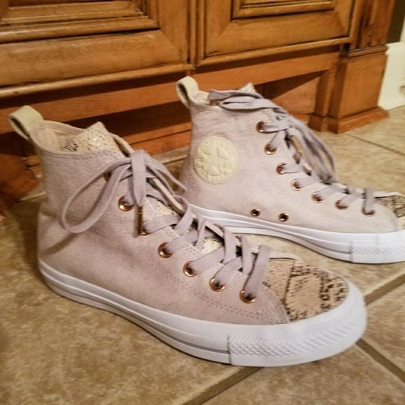 61b9d52af574 Converse Shoes - Converse Hightop Snakeskin Tongue Tennis Shoes